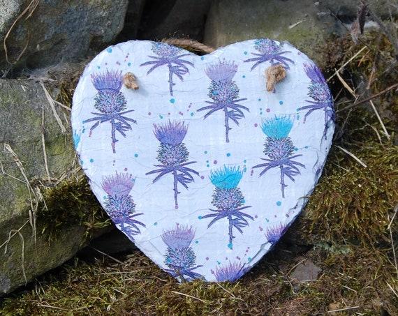 Thistles Flower of Scotland Slate Heart Hanger - Hanging Heart  - Garden Decor - Decorative Sculpture