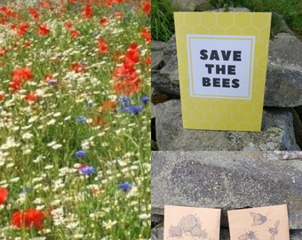 Save The Bees Wildflower Seeds Gift Card Wild Flowers Garden Bee Scented Meadow Flower Pack Mix Seed