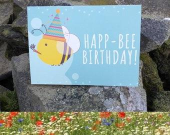 Happ-Bee Birthday Wildflower Seeds Birthday Card Wild Flowers Garden Bee Scented Meadow Flower Pack Mix Seed