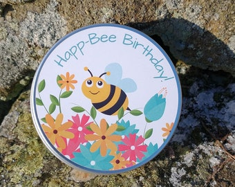 Happ-Bee Birthday! Wildflower Seed Bombs Seed Balls Birthday Tin Garden Bee Scented - Peat Free - No Grass