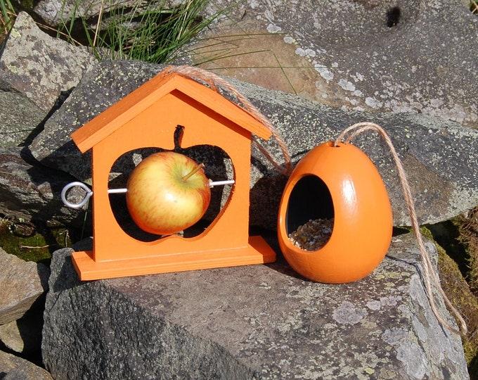 Bright Orange Bird Feeder Gift Set Ceramic Wild Bird Seed Feeder & Fruit Fat Ball Feeder, mix and match, choose your own, garden, gardening
