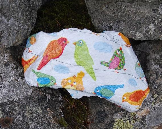 Bright Patchwork Birds, Garden Art, Garden Stone, Stepping Stone, Garden Decor, Decorative Sculpture, Natural Stone, Door Stop, Paperweight