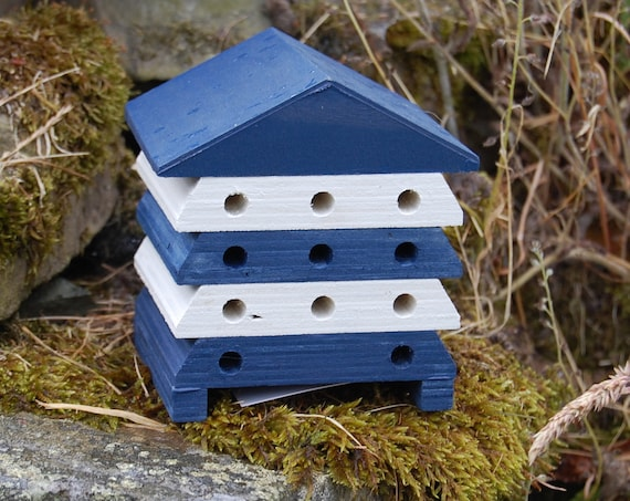 Wooden Bee Hive House - Blue and White Stripe - Insect House - Bug Hotel - Bee House - Gardening Gifts - Garden  - Scotland