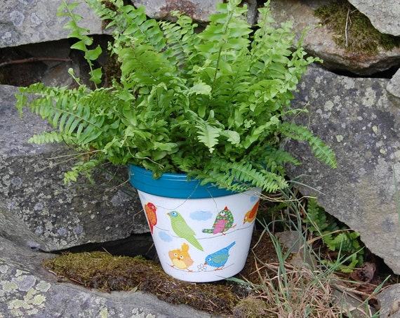 Bright Patchwork Birds Teal Blue Terracotta Flower Plant Pot - Garden Gift - Housewarming - Decor - Planter - Gardener
