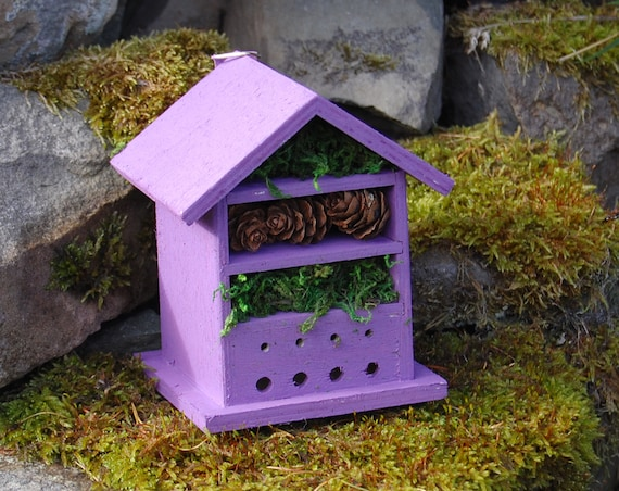 Purple Wooden Insect House - Bug Hotel - -Beasts Vacation - Bee House - Gardening Gifts - Garden - Scottish Gifts - Scotland-