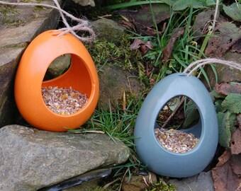 Bright Orange & Sea Green Bird Feeder Gift Set Set of 2 Ceramic Wild Bird Seed Feeders, mix and match, choose your own, garden, gardening