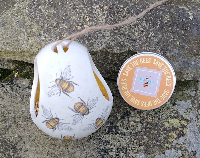 Save The Bees Gift Set - Busy Bees Two Tone White and Yellow Ceramic Wild Bird Seed Feeder and Wildflower Seed Bombs - Orange