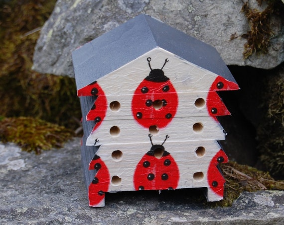 Ladybird Ladybug Grey Gray - Wooden Bee Hive House - Insect House - Bug Hotel - Bee House - Gardening Gifts - Garden - Scottish Gifts
