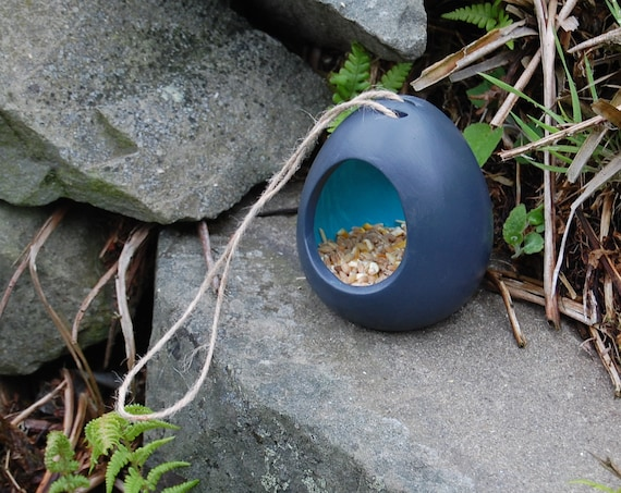 Two Tone Dark Grey Gray and Turquoise Blue Ceramic Wild Bird Seed Feeder  - Gardening Gifts - Scottish Gifts - Birds - Apple - Balls