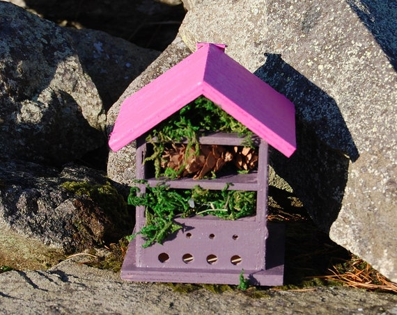 Two Tone Dark Purple & Pink Wooden Insect House - Bug Hotel - -Beasts Vacation - Bee House - Gardening Gifts - Garden - Scottish Gifts -