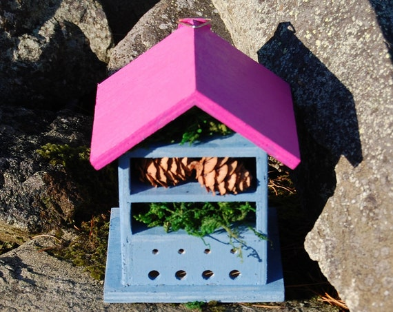 Two Tone Blue & Pink Wooden Insect House - Bug Hotel - -Beasts Vacation - Bee House - Gardening Gifts - Garden - Scottish Gifts -