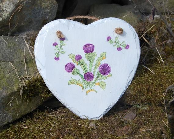 Thistles - Flower of Scotland Slate Heart Hanger - Hanging Heart  - Garden Decor - Decorative Sculpture