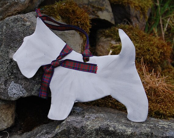 "Decorative ""Wee Dug"" Dog Hanger Scottish Gifts - Upcycled Car - Tartan"
