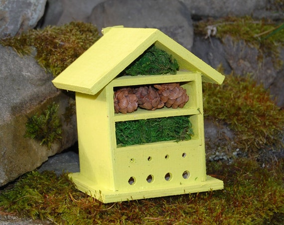 Bright Yellow Wooden Insect House - Bug Hotel - -Beasts Vacation - Bee House - Gardening Gifts - Garden - Scottish Gifts - Scotland-