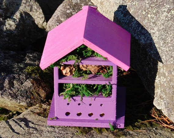 Two Tone Purple & Pink Wooden Insect House - Bug Hotel - -Beasts Vacation - Bee House - Gardening Gifts - Garden - Scottish Gifts -