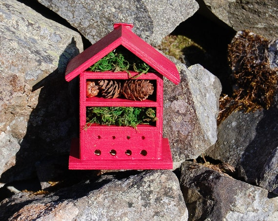 Red  Wooden Insect House - Bug Hotel - -Beasts Vacation - Bee House - Gardening Gifts - Garden - Scottish Gifts - Scotland