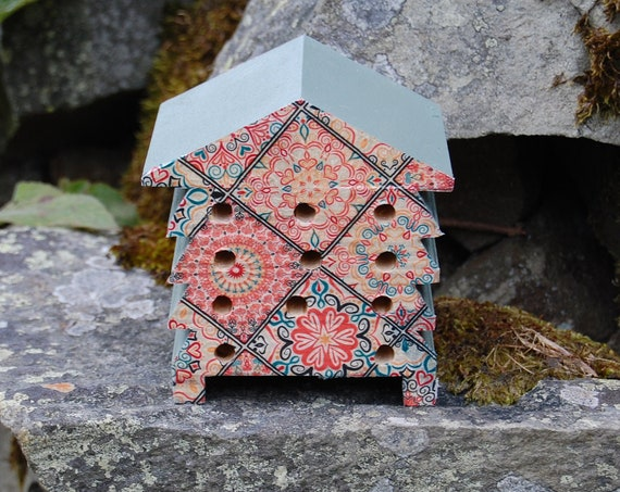 Mandala Patchwork Pink and  Green - Wooden Bee Hive House - Insect House - Bug Hotel - Bee House - Gardening Gifts - Garden - Scottish Gifts