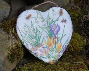Crocus, Snowdrops, Bumble Bee, Flowers Slate Heart Hanger - Hanging Heart  - Garden Decor - Decorative Sculpture