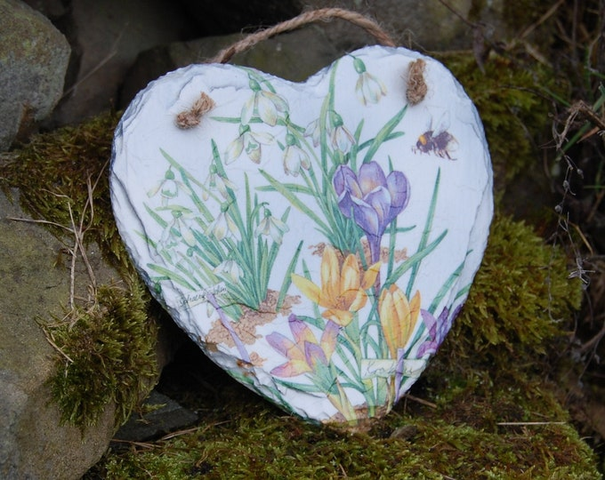 Crocus, Snowdrops, Bumble Bee, Flowers Slate Heart Hanger - Hanging Heart  - Garden Decor - Decorative Sculpture