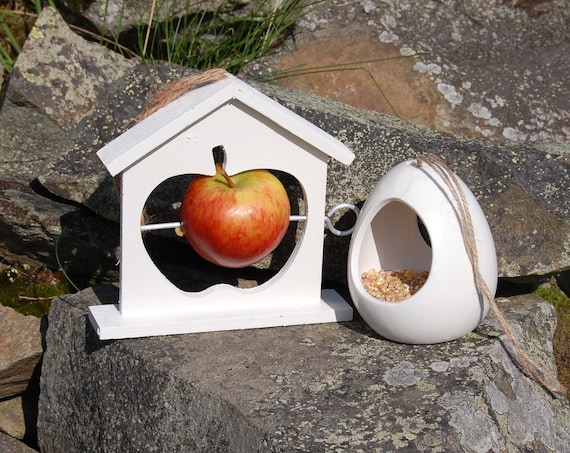 Mix and Match  Bird Feeder Gift Set White Ceramic Wild Bird Seed Feeder & Fruit Fat Ball Feeder, choose your own, garden, gardening