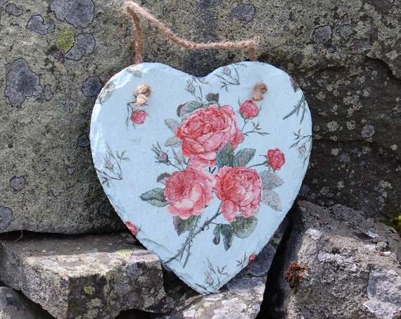 Vintage Rose Pink & Blue Slate Heart Hanger - Hanging Heart  - Garden Decor - Decorative Sculpture