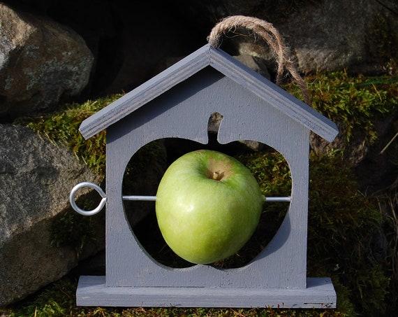 Grey Gray Wooden Bird Feeder - Gardening Gifts - Scottish Gifts - Birds - Apple - Balls - Scotland - Gardener - Nature - Garden
