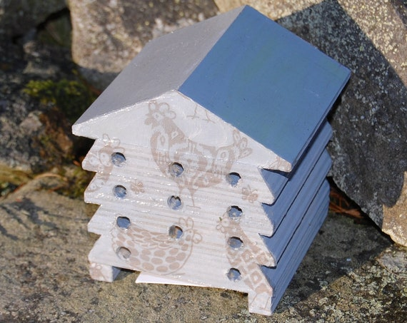 Grey Gray Chicken Rooster - Wooden Bee Hive House - Insect House - Bug Hotel - Bee House - Gardening Gifts - Garden - Scottish Gifts