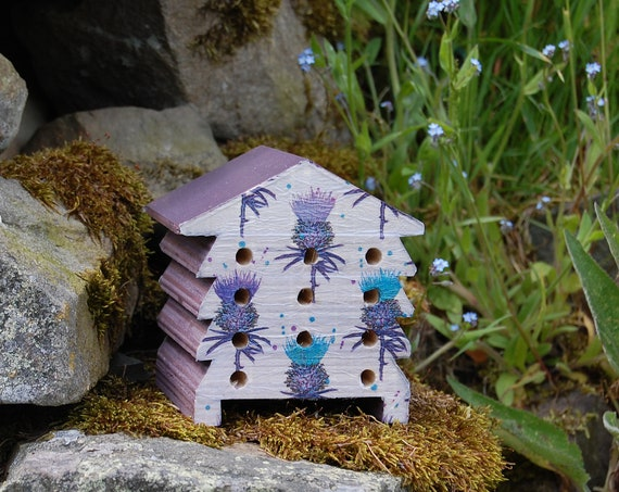 Scottish Thistle Thistles Purple and Turquoise - Wooden Bee Hive House - Insect House - Bug Hotel - Bee House - Gardening Gifts -