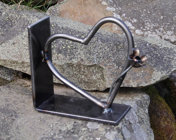 Heart and Flower Door Stop, Bookend, Garden Gift, Nature Lover, Potting Shed  - re-purposed steel