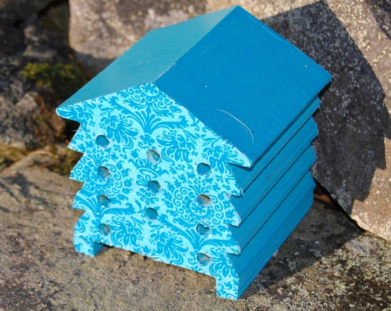 Turquoise Retro Floral Flower - Wooden Bee Hive House - Insect House - Bug Hotel - Bee House - Gardening Gifts - Garden - Beehive