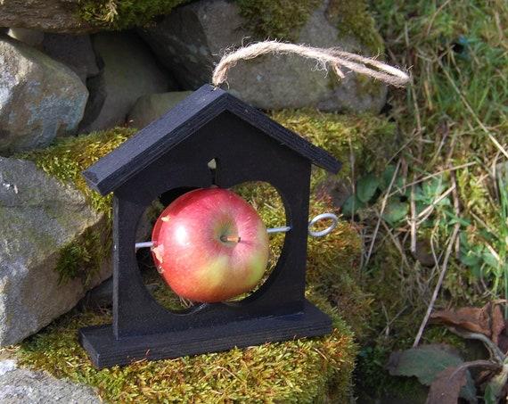 Black Wooden Bird Feeder  - Gardening Gifts - Scottish Gifts - Birds - Apple - Balls - Scotland - Gardener - Nature - Garden