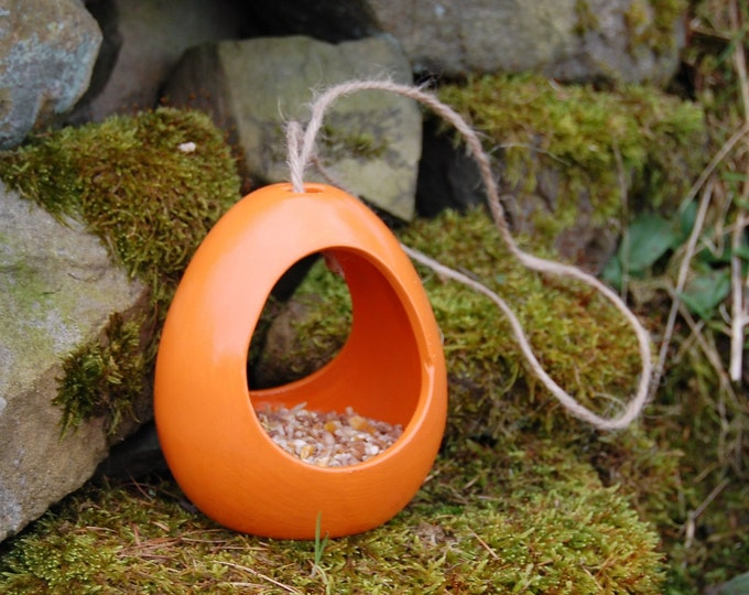Orange Ceramic Wild Bird Seed Feeder  - Gardening Gifts - Scottish Gifts - Birds - Apple - Balls - Scotland - Gardener - Nature - Garden