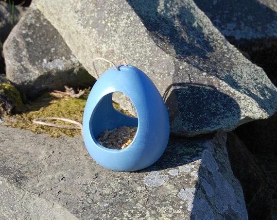 Cornflower Blue Ceramic Wild Bird Seed Feeder  - Gardening Gifts - Scottish Gifts - Birds - Apple - Balls - Scotland - Nature - Garden