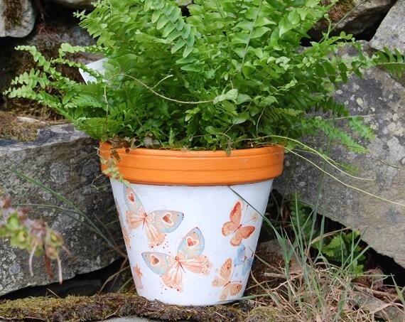 Orange Butterflies Terracotta Flower Plant Pot - Garden Gift - Housewarming - Decor - Planter - Gardener