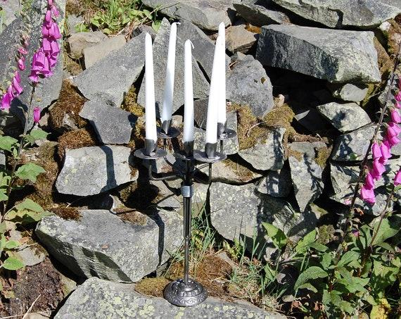 Steel Candelabra - 5 candle - viking inspired - re-purposed steel.