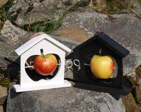 Mix and Match Bird Feeder Gift Set, Black and White, 2 Wooden Fruit & Fat Ball Feeders, choose your own, garden, gardening, bundle