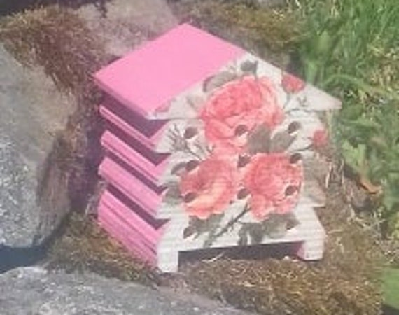 Pink Vintage Rose - Wooden Bee Hive House - Insect House - Bug Hotel - Bee House - Gardening Gifts - Garden - Beehive