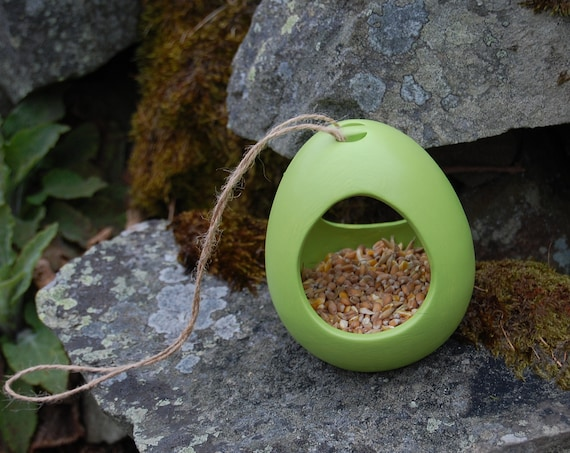 Lime Green Ceramic Wild Bird Seed Feeder  - Gardening Gifts - Scottish Gifts - Birds - Apple - Balls - Scotland - Gardener - Nature - Garden