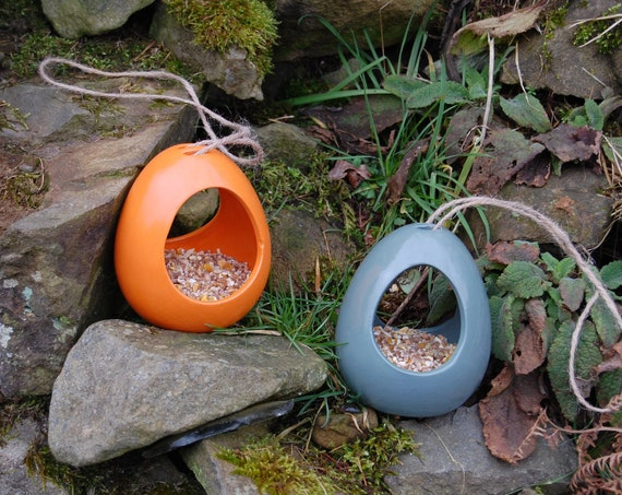 Mix and Match  Bird Feeder Gift Set, Bright Orange & Sea Green, Set of 2 Ceramic Wild Bird Seed Feeders,choose your own, garden, gardening