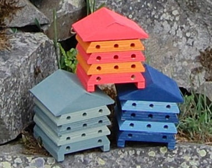 Bee House Choose Your Own Colours Wooden Beehive Insect Hotel Stripes  Two Tone - Gardening Gifts - Save The Bees