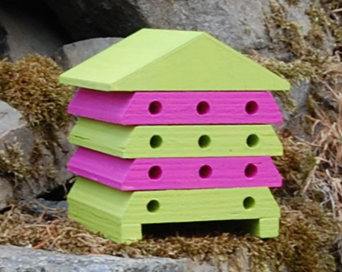 Wooden Bee Hive House - Hot Pink & Lime Green - Insect House - Bug Hotel - Bee House - Gardening Gifts - Garden - Beehive - Scotland