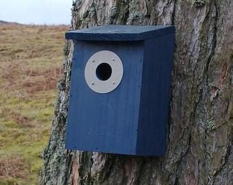 Navy Blue Wooden Bird House Nest Box