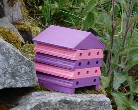 Wooden Bee Hive House - Purple & Pink Stripe - Insect House - Bug Hotel - Bee House - Gardening Gifts - Garden - Scottish Gifts