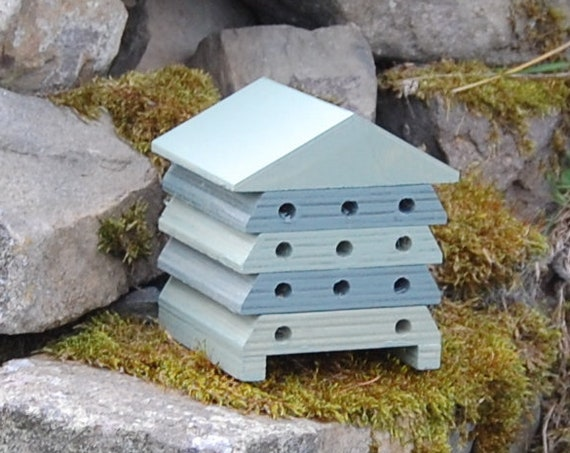 Wooden Bee Hive House - Green Stripes - Insect House - Bug Hotel - Bee House - Gardening Gifts - Garden - Scottish Gifts - Scotland