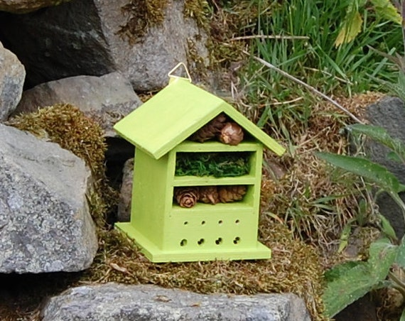 Lime Green  Wooden Insect House - Bug Hotel - -Beasts Vacation - Bee House - Gardening Gifts - Garden - Scottish Gifts - Scotland