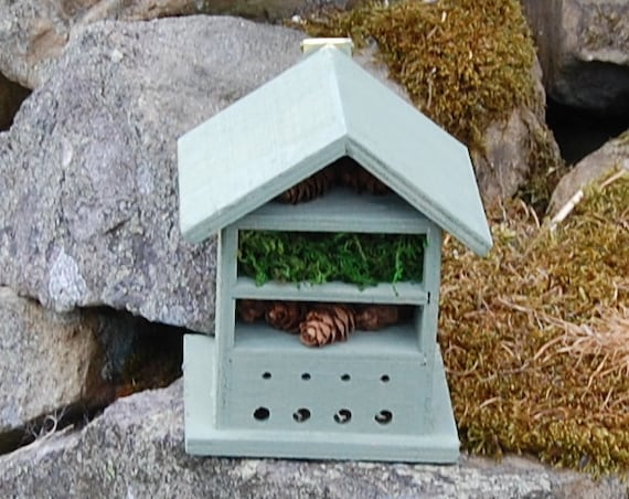 Green  Wooden Insect House - Bug Hotel - -Beasts Vacation - Bee House - Gardening Gifts - Garden - Scottish Gifts - Scotland