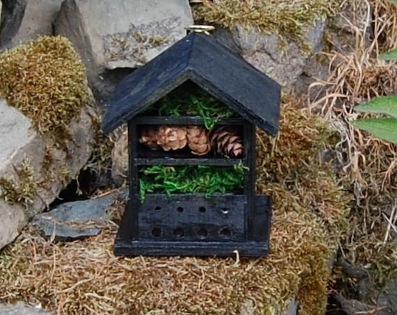 Midnight Black Wooden Insect House - Bug Hotel - -Beasts Vacation - Bee House - Gardening Gifts - Garden - Scottish Gifts - Scotland