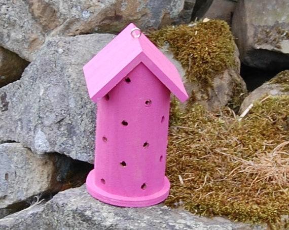 Hot Pink Wooden Ladybird House Hotel - Ladybug - Insect House - Bug Hotel - Bee House - Gardening Gifts - Scottish Gifts - Scotland