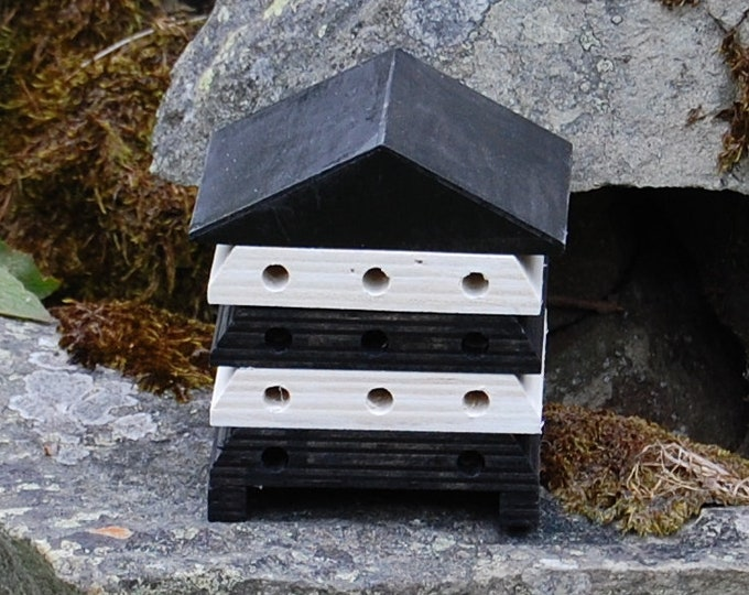 Wooden Bee Hive House - Black and White Monochrome Stripe - Insect House - Bug Hotel - Bee House - Gardening Gifts - Garden  - Scotland
