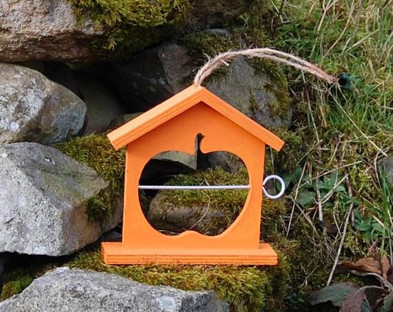 Orange Wooden Bird Feeder  - Gardening Gifts - Scottish Gifts - Birds - Apple - Balls - Scotland - Gardener - Nature - Garden